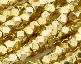 Brass-3-3.3mm Cornerless Cube Bead-Gold-Quantity 24 Inch Strand