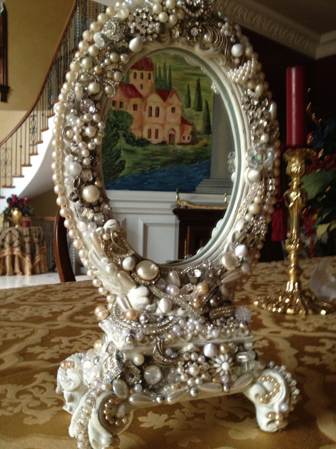 Mirror embellished with all vintage jewelry by for Embellished mirror frame