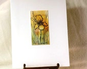 Yellow Iris note card original watercolor art OOAK pen and ink gold green floral flower blank card all occasion