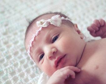 Shabby Chic Newborn Floral Tieback