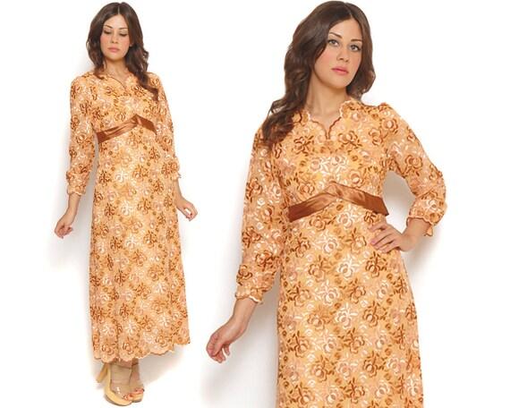 60s Maxi Dress Sheer Embroidered Floral Pastel Peach Honey 1960s Boho Empire Waist Puff Sleeves Bridesmaid / Size M Medium Black Friday Sale