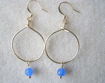 Ocean Blue Agate Semi Precious Stone Hoop Earrings