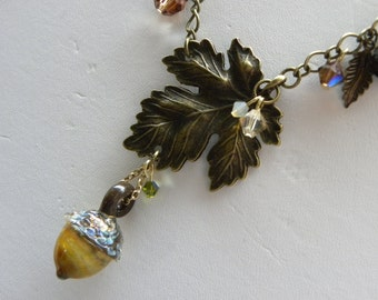 Acorn and Maple Leaf Necklace, Chunky Lamp Work Assemblage Necklace, Swarovski Crystal Autumn Fall Leaf Statement Necklace