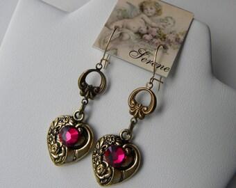 Heart Repousse Heart Earrings Swarovski Fuchsia Earrings Gold Heart Earrings