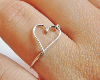 Graduation gift- Cute small heart ring made on sterling silver wire, gauge 20
