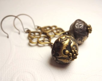 Charcoal and Antique Bronze Vintage Lucite Bead and Scroll Earrings