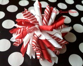 Red Korker Hair Bow- Christmas Candy Cane