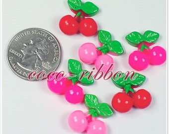 18mm 12pc Small Cherry Bling FLAT BACK RESINS Cabochons