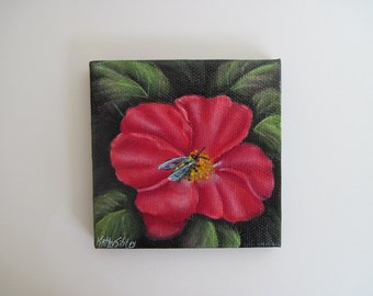 Honey Bee Rose, Miniature Original Painting, 3 x 3 inches, 76.2  x 76.2 mm, Acrylic Painting