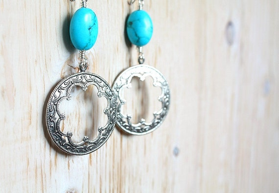 CIJ 20% OFF - Oval Turquoise Moroccan Hoop Earrings Bohemian Jewelry- christmasinjuly Christmas In July