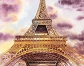 Eiffel Tower Paris France Painting - 8 x10 inch Print - FREE Shipping US Only