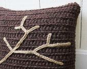 Chunky Crochet Throw Pillow Brown/Tan Tree Branch, Decorative Pillow, 16 x 16