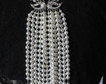 "Pearls, with Rhinestone Clasp. Worn as ""Back Jewelry"" or, ""Backward(s) Necklace"""