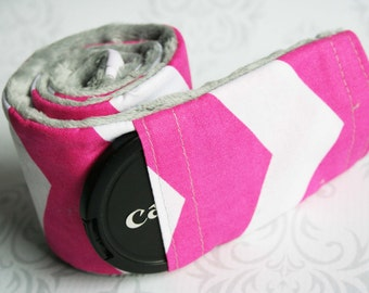 Camera Strap Cover with Lens Cap Pocket - Padded Minky - Hot Pink Chevron with Gray Minky- MADE TO ORDER