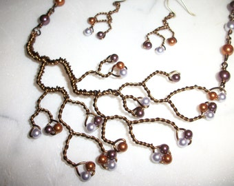 Hand Twisted Tree Necklace in Copper Lilac