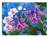 Orchids art painting cattleya phalaenopsis orchid ORIGINAL oil Pastel Painting whimsical Flowers