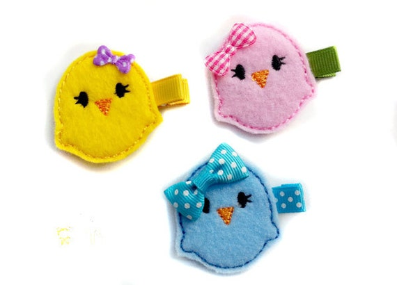 Felt Hair clip Pink Yellow Blue Chick Felt embroidery Baby Girl Hair clippie. You PICK the COLOR ...