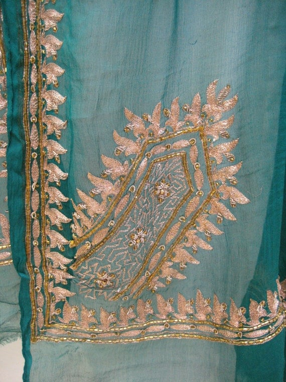 Antique SILK Shawl/Stole. Regency Style MUST SEE. Peacock Blue. Hand embroidered in gold gilt thread