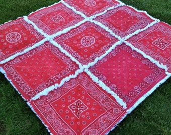 Red Bandana Rag Quilt