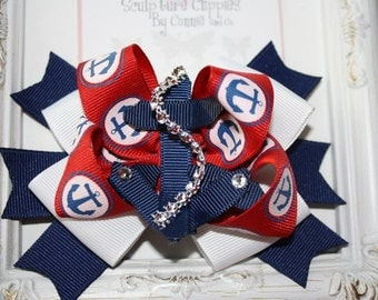Clearance~Nautical Anchor  Bow with detachable anchor clip. Boat Sailing Anchor Ribbon Sculpture Clip. Free Ship Promo.