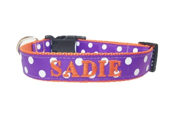 Dog Collar: Personalized Dog Collar- Purple polka dot dog collar