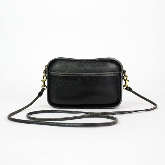 Coach black crossbody bag / distressed leather sling bag /