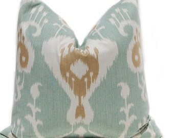 Decorative Throw Pillow Covers - Seafoam Green Pillows - 18 x 18 Ikat Pillow Covers - Aqua Pillows with Brown - Same Fabric Front and Back