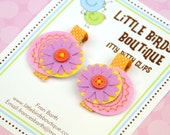 Baby Toddler Hair Clips/Bows - Pink Purple Orange Easter Eggs