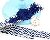 Adult or Child Fabric Headband Head Wrap, Tie, Sash, with Rose Flower in Navy Blue Zig Zag Chevron