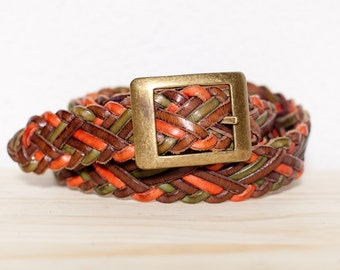 Rustic Brown Orange and Green Woven Leather Belt. S.