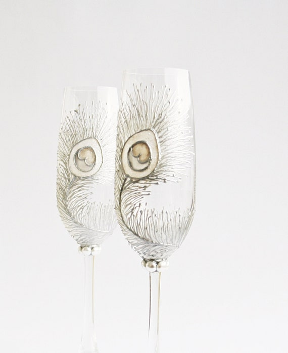 Wedding Glasses Bleached Peacock Feathers Hand Painted Flutes Set of 2