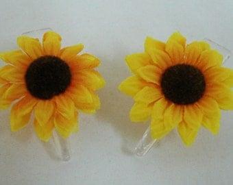 1 Pair Mini Yellow Gerbera Daisy flower Hair Clip
