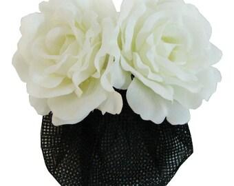 White Silk Rose flower Barrette Hair Clip With Snood Net