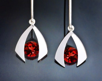 garnet earrings - January birthstone - red - dangle earrings - gemstone jewelry - eco-friendly - Argentium silver - 2424