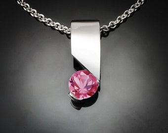 pink topaz pendant, silver necklace, wedding necklace, modern jewelry, holiday necklace, eco-friendly, Argentium silver - 3460