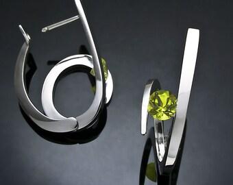 peridot earrings, hoop earrings, August birthstone, statement earrings, hinged back earrings, green earrings, Christmas gift, for her -2429