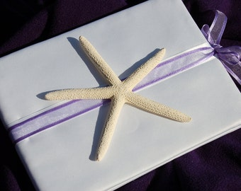 Starfish White Satin Fabric Covered Guest Book with Purple Accent Ribon