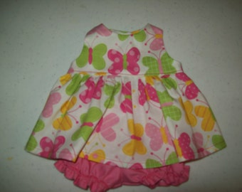 "Baby Alive  And Waldorf Doll Clothes Adorable Pink Butterfly Dress 10"" 12"" Or 15"""