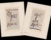 Be Still and Know that I am God... old book page, original calligraphy, quotation vintage book, paper ephemera,