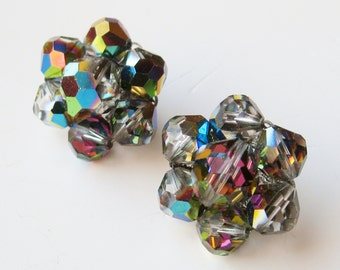 Vintage 50s 60s Sparkling Black Aurora Borealis Glass Bead Clip Back Earrings