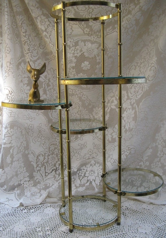 Gold Metal Plant Stand Faux Bamboo And Glass 5