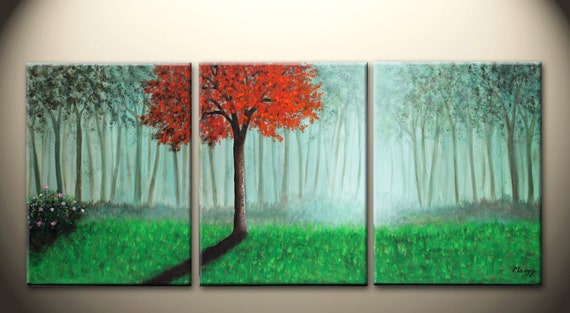 morning red tree - 36x16 inch original modern painting, ready to hang