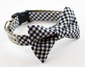 Black Gingham Bowtie Dog Collar