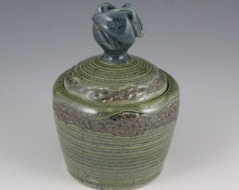 Sale- Lidded Jar in Heather Green with blue knob