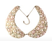 LAST ONE - SALE - 40% off - Metal Peter Pan Collar Bib Necklace - Ready to Ship Now-- Pearl and Rhinestone