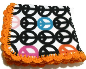 Peace Sign Blanket, Peace Fleece Throw, Peace Sign Bedding, Rainbow Peace Signs, Peace Sign Throw, Orange Crochet Edging, Shell Crochet Edge
