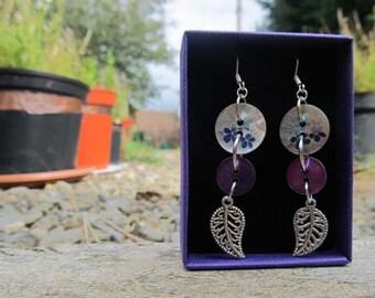 Purple button earrings