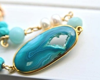 Deep Dark Teal Drusy Bracelet with Turquoise Amazonite & Pearls 14kt and 18kt Gold Filled Metals from North Atlantic Art