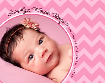 Baby Girl Birth Announcement, Pink baby birth announcement, newborn announcement, prink chevron announcement card, new baby announcement