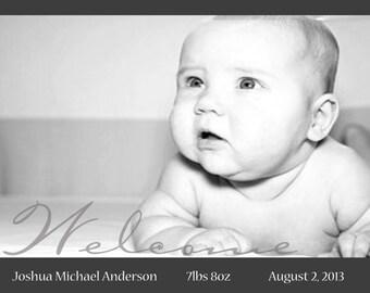 Birth Announcement, Black and White Birth Announcement, DIY Print birth announcement, baby boy announcement, baby girl announcement